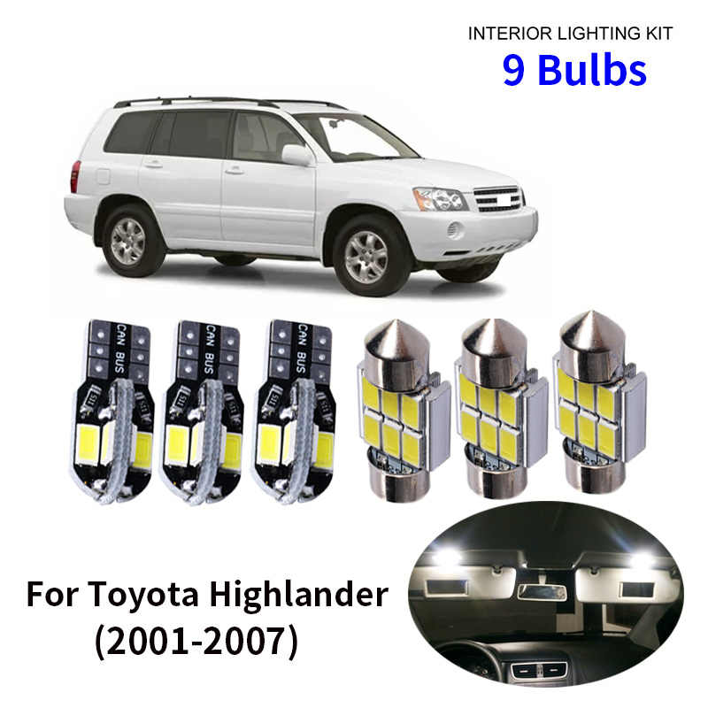 9pcs Car Accessories White Interior LED Light Bulbs Package Kit For 2001-2007 Toyota Highlander T10 31MM Map Dome Trunk Lamp