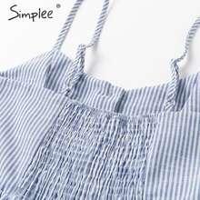 Simplee Elegant striped women summer plus size dress Buttons strap cotton midi dress Casual female ladies beach vestidos 2019