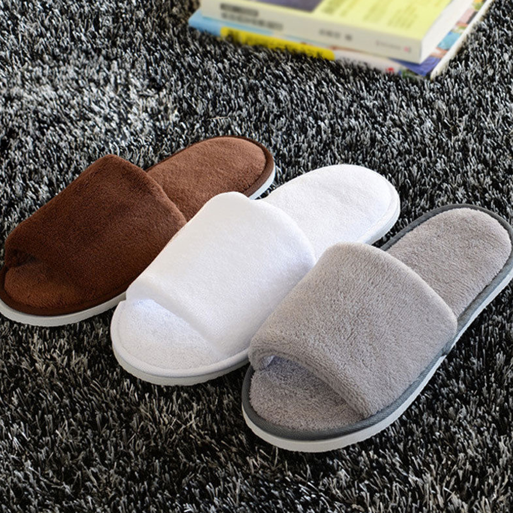 TELLW Leather Home Cotton Slippers Winter Home Slippers Men and Women Couples Thick Soles Non-Slip Leather Slippers