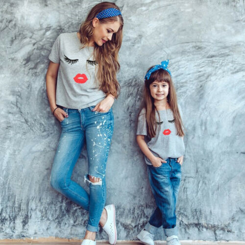 Family Matching T-Shirt Blouse Girls Kids Print Tee-Tops Women