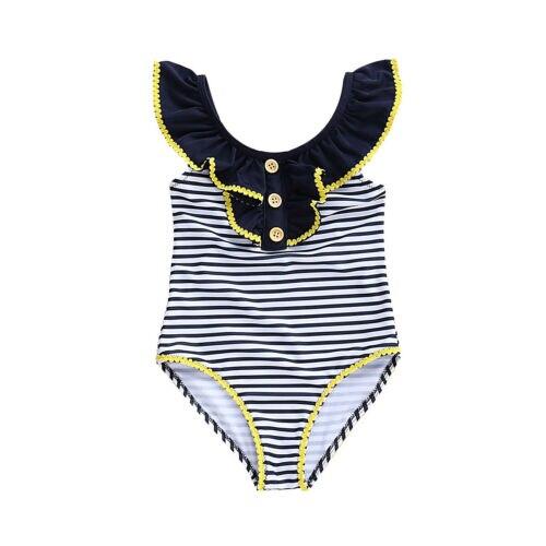 2019 Neue Kleinkind Kinder Baby Mädchen Zerzauste Fliegen Sleeve Striped Bademode Bikini Rock Badeanzug Ein Stück Strand Kleidung 1 -5 T