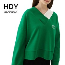 HDY Haoduoyi  2019 Asymmetrical Colour V Leaders Lower Pendulum Embroidered Loose Short Sanitary Clothes