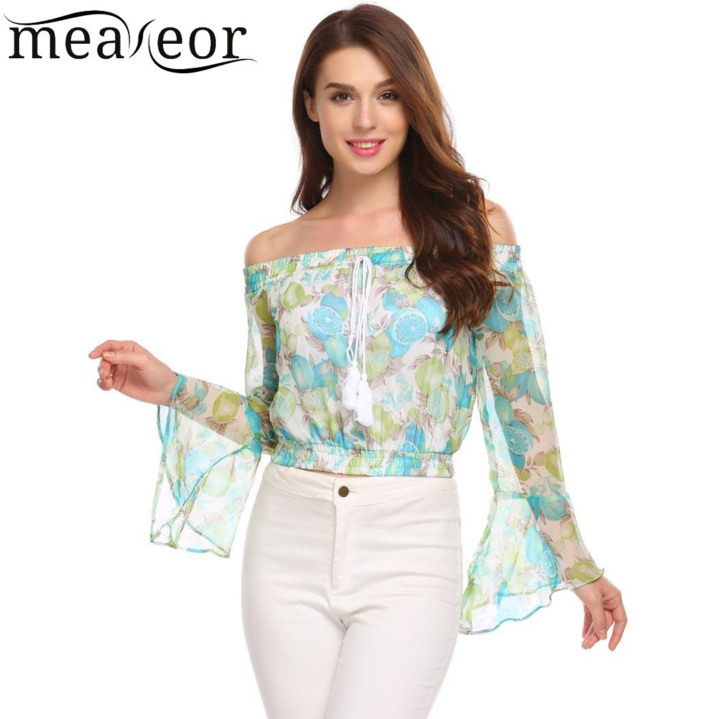 Meaneor Chiffon Women   Blouses   Casual Print Off Shoulder Autumn   Blouse     Shirts   Causal Female   Shirts   Flare Sleeve Chiffon Women Top