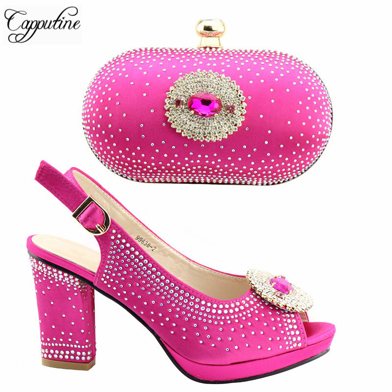 Hot Selling Fashion Fuchsia Color Shoes And Purse Set For Wedding Italy Style High Heels Shoes And Bag Set On Stock TX-382Hot Selling Fashion Fuchsia Color Shoes And Purse Set For Wedding Italy Style High Heels Shoes And Bag Set On Stock TX-382