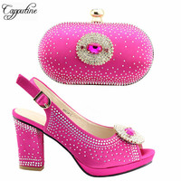 Hot Selling Fashion Fuchsia Color Shoes And Purse Set For Wedding Italy Style High Heels Shoes And Bag Set On Stock TX 382