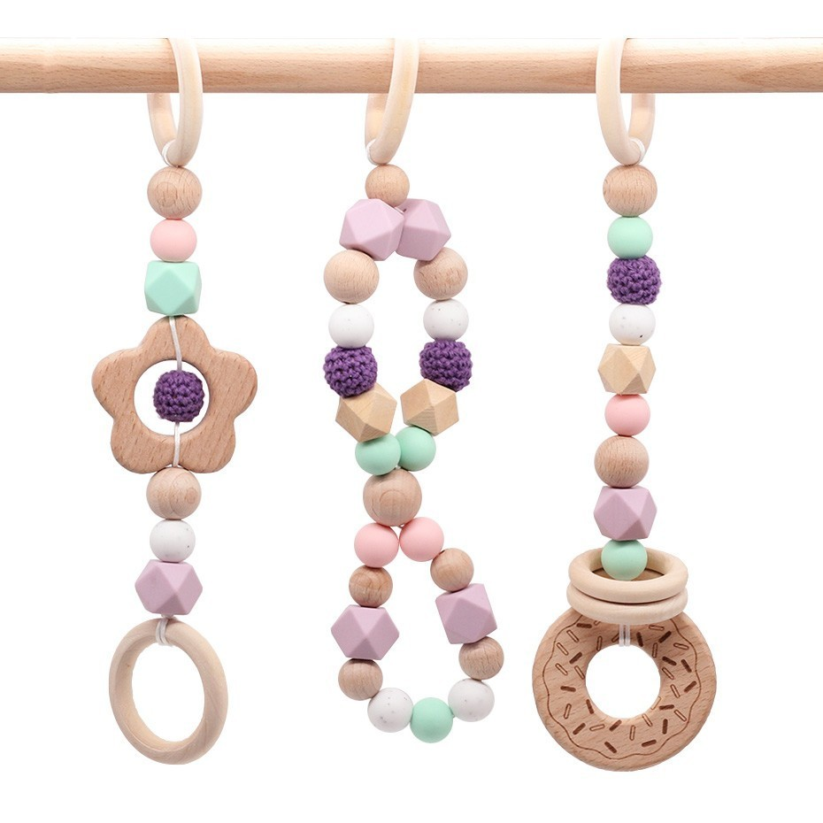 NEW Play Gym Accessorie 3pc Chew Baby Silicone Beads DIY Teether Jewelry Nursing Pendants Baby Toys Rattle Beech Wooden TeetherNEW Play Gym Accessorie 3pc Chew Baby Silicone Beads DIY Teether Jewelry Nursing Pendants Baby Toys Rattle Beech Wooden Teether