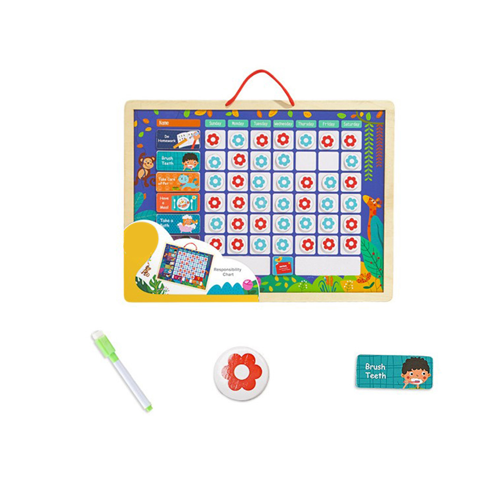 1pc Responsibility Chart Educational Magnetic Reward Toy Playboard for Children Kids Calendar & Time ToysLearning & Education