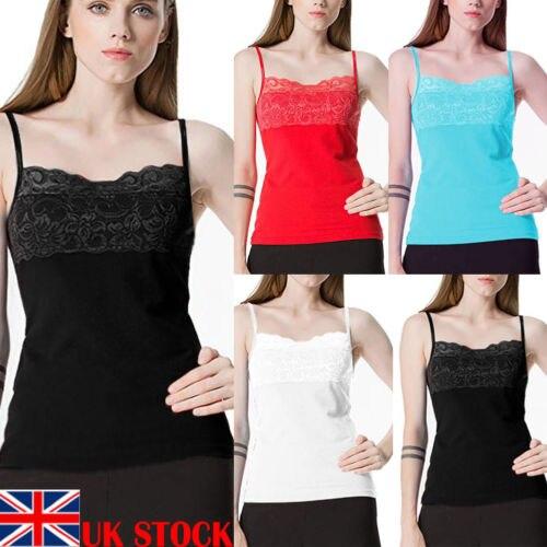 Ladies Cotton Vest Top Lace Trim Neck Design Cami Tank Strappy Plain Camisole