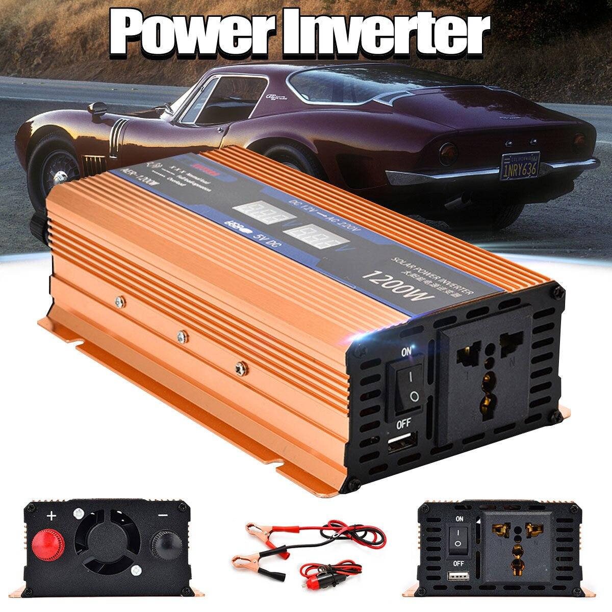 500/1200/2000W Car LED Display Power Inverter Charger Converter Adapter Transformer 12V to 220V USB Socket Modified Sine Wave