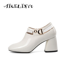 AIKELINYU Black Pumps Women 2019 New Spring Thick High Heels Ladie Fashion Patent Leather Shoes Pvc Square Toe