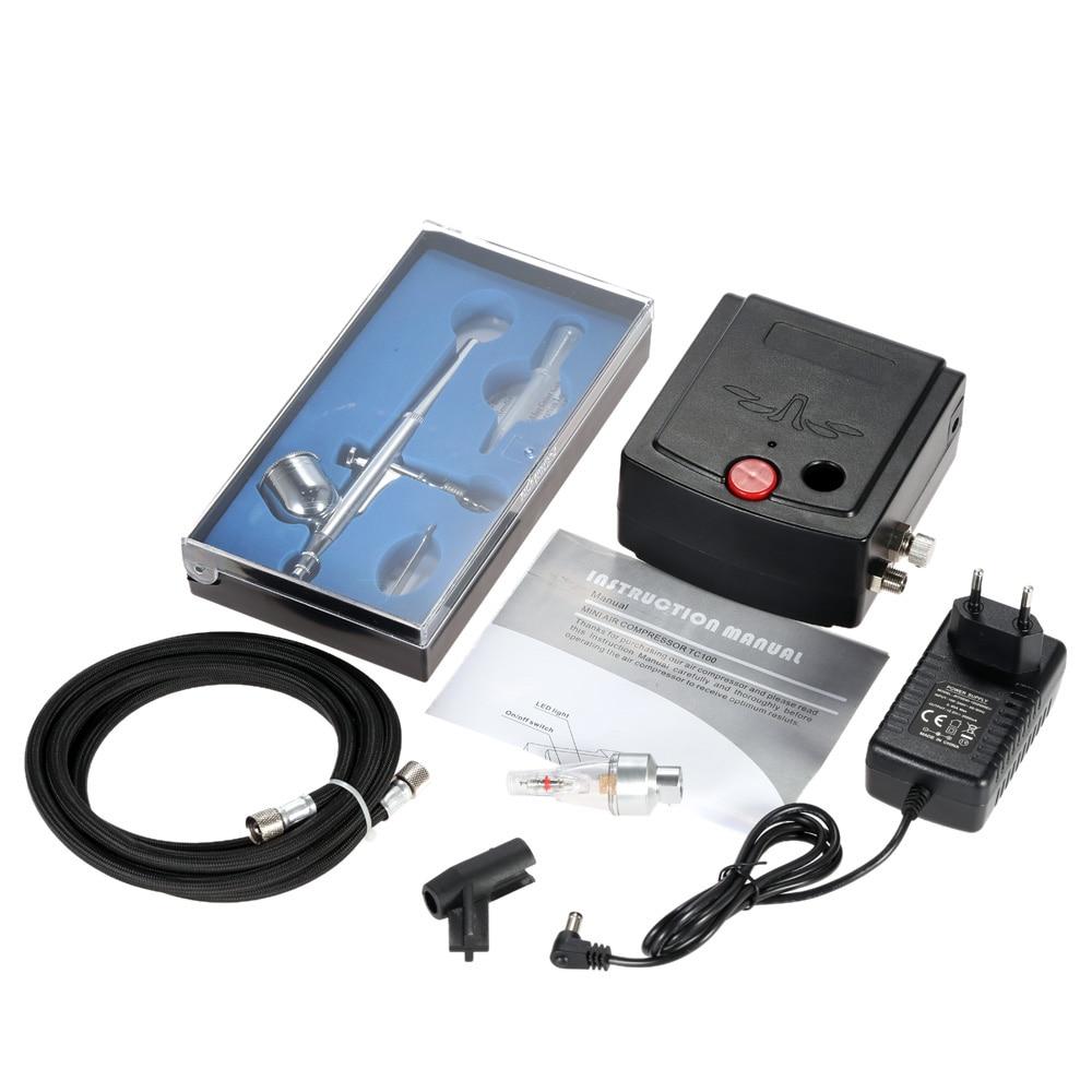 Kit de compresor de aire de doble acción de alimentación de gravedad de 100 250 V para pintura artística de manicura cepillo de aire de la herramienta-in Accesorios de tatuaje from Belleza y salud    1