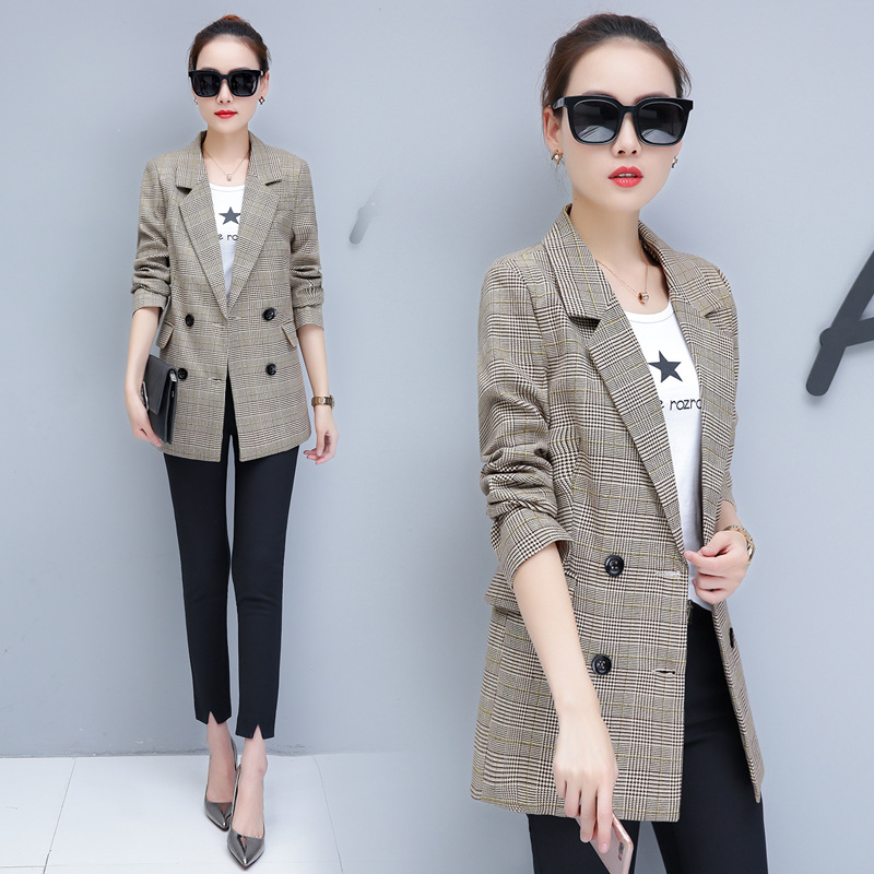 0711 New 2019 Double Breasted Plaid Blazer Women Long Sleeve  Slim Fit Office Jacket Blazer Feminino Office Suit Lady Outerwear