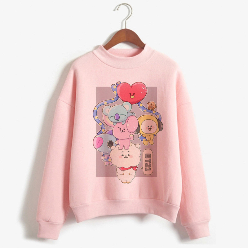 Kpop BT21 Pullover Sweatshirt Hoodies Girls Harajuku Lengthy Sleeved Pullover Model Tracksuit Turtleneck Idols Clothes For Feminine Hoodies & Sweatshirts, Low-cost Hoodies & Sweatshirts, Kpop BT21 Pullover Sweatshirt Hoodies...