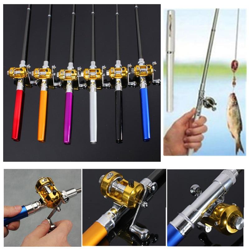 Bobing Mini Fishing Rod Reel Portable Telescopic Pocket Pen Shape Portable Lightweight Fishing Pole Sea River