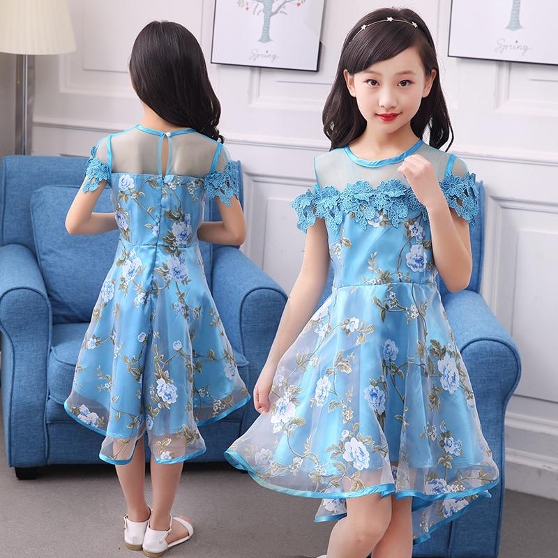2018 Kids Girls Flower Dress Children Girl Voile Birthday Party Dress Baby Fancy Princess Fashion Yarn Dress 3 5 8 10 12 Years