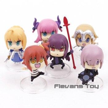 6 piezas Fate Anime Saber Tamamo Mathew Joan Scathach Okita sólido conjunto  en caja 9 cm PVC figura