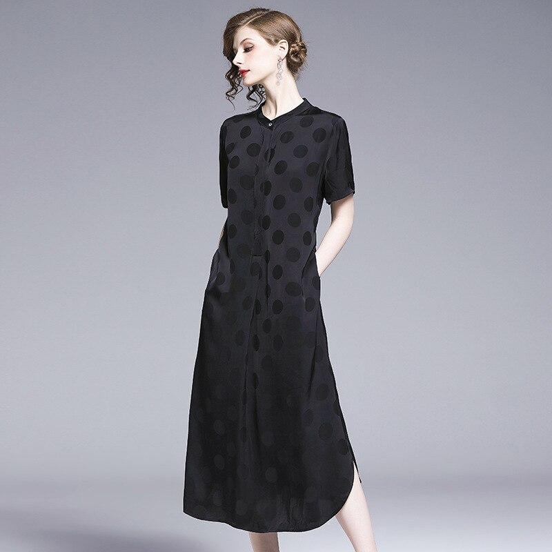 Tempérament élégant cuivre ammoniac robe 2019 été nouvelle vague point poche était mince simulation soie robe livraison gratuite