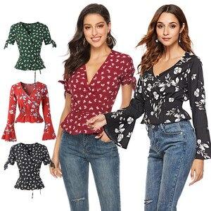 New Floral Print Chiffon Blouse Women Summer Ladies Tops Casual Boho Clothing Streetwear Beach Shirts Blusas Mujer De Moda 2019