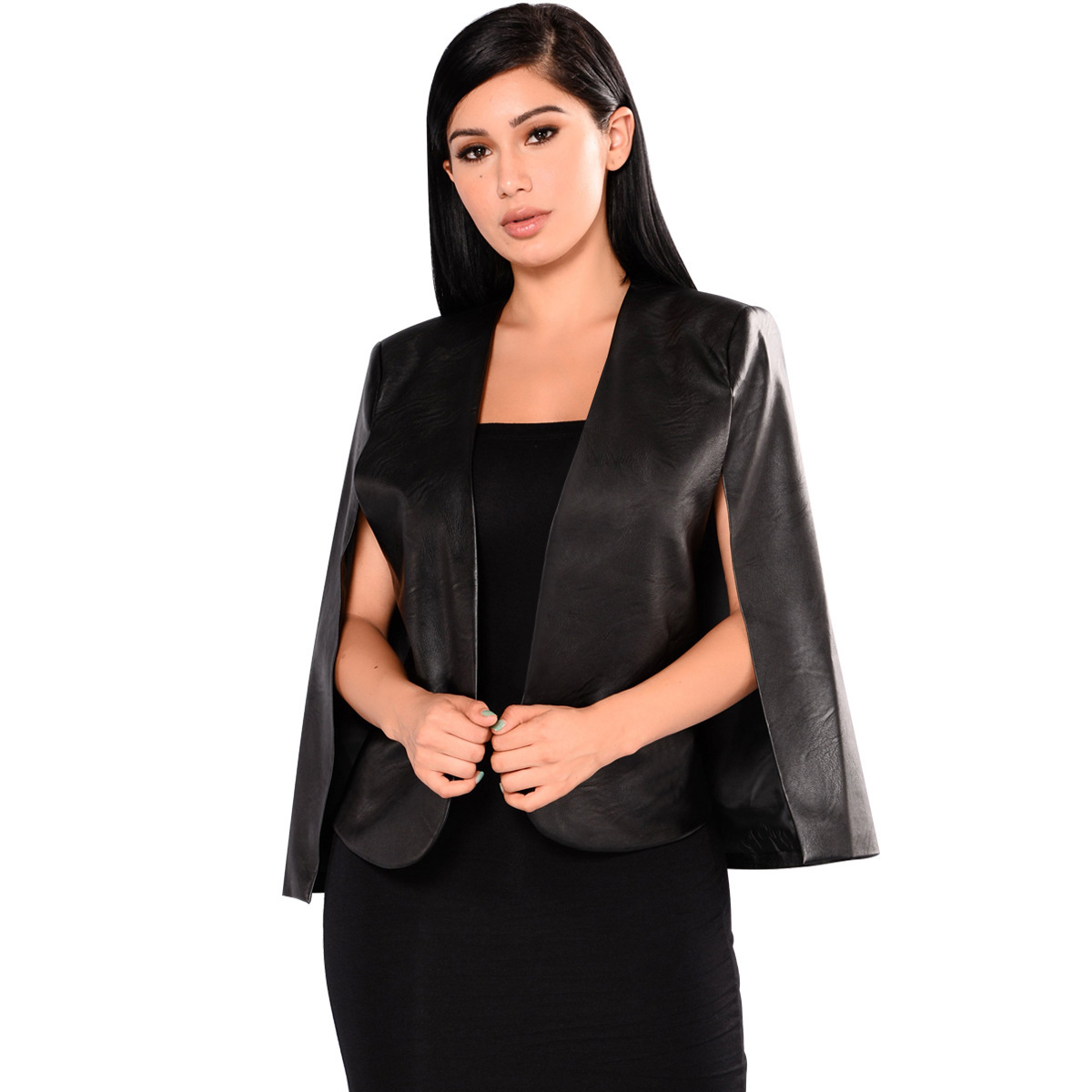 2019 spring European and American women's PU   leather   jacket new fashion cloak jacket nightclub small suit female