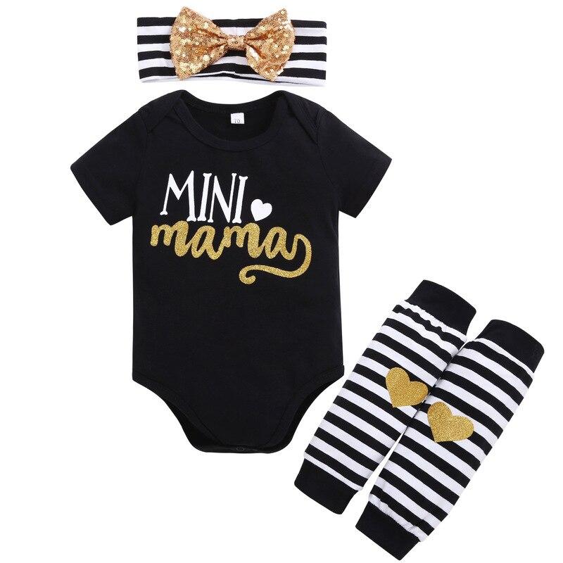 3 Stks Set Pasgeboren Baby Kleding Baby Bebes Korte Mouw Mini Mama Bodysuit Romper Hoofdband Gouden Hart Gestreepte Been Warmer Outfit