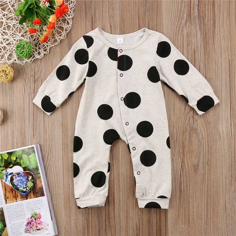 Polka Dot Print Baby Rompers Boy Girl Cotton Long Sleeve Baby Clothes Jumpsuit Outfits Casual New Born Baby Clothes 1-24 Months
