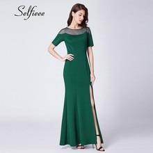 2019 New Arrival Dark Green Women Dress Elegant Mermaid O Neck Short Sleeve Long Summer Party Dress With Split Vestido Longos