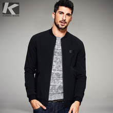 KUEGOU New Spring Mens Casual Jackets And Coats Thin Black Color Brand Clothing For Mans Slim Fit Clothes Male Wear Tops 2067