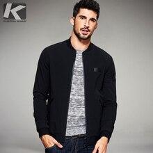 KUEGOU New Spring Mens 캐주얼 자켓 및 코트 얇은 블랙 컬러 브랜드 의류 남성용 슬림 피트 의류 남성복 탑스 2067