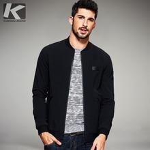 Kuegou 春の新作メンズカジュアルジャケットとコート薄い黒色ブランドのためのスリムフィット服男性着用のトップス 2067