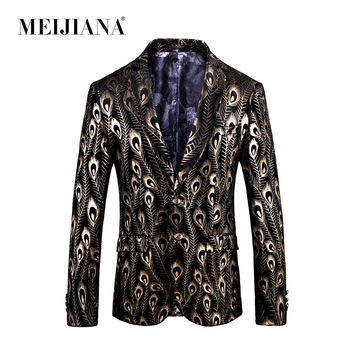Blazer Casual MEIJIANA 2018 Fashion Slim Men Wedding Two Suit 3d Button Jackets Fit Party US Size Peacock Coat Print