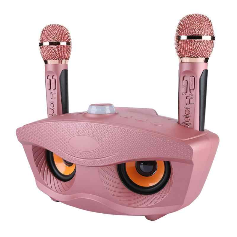 Karaoké maison système sans fil Bluetooth haut-parleur Machine maison 2 karaoké Mircophones FM Radio or Rose Support TF carte et U disque