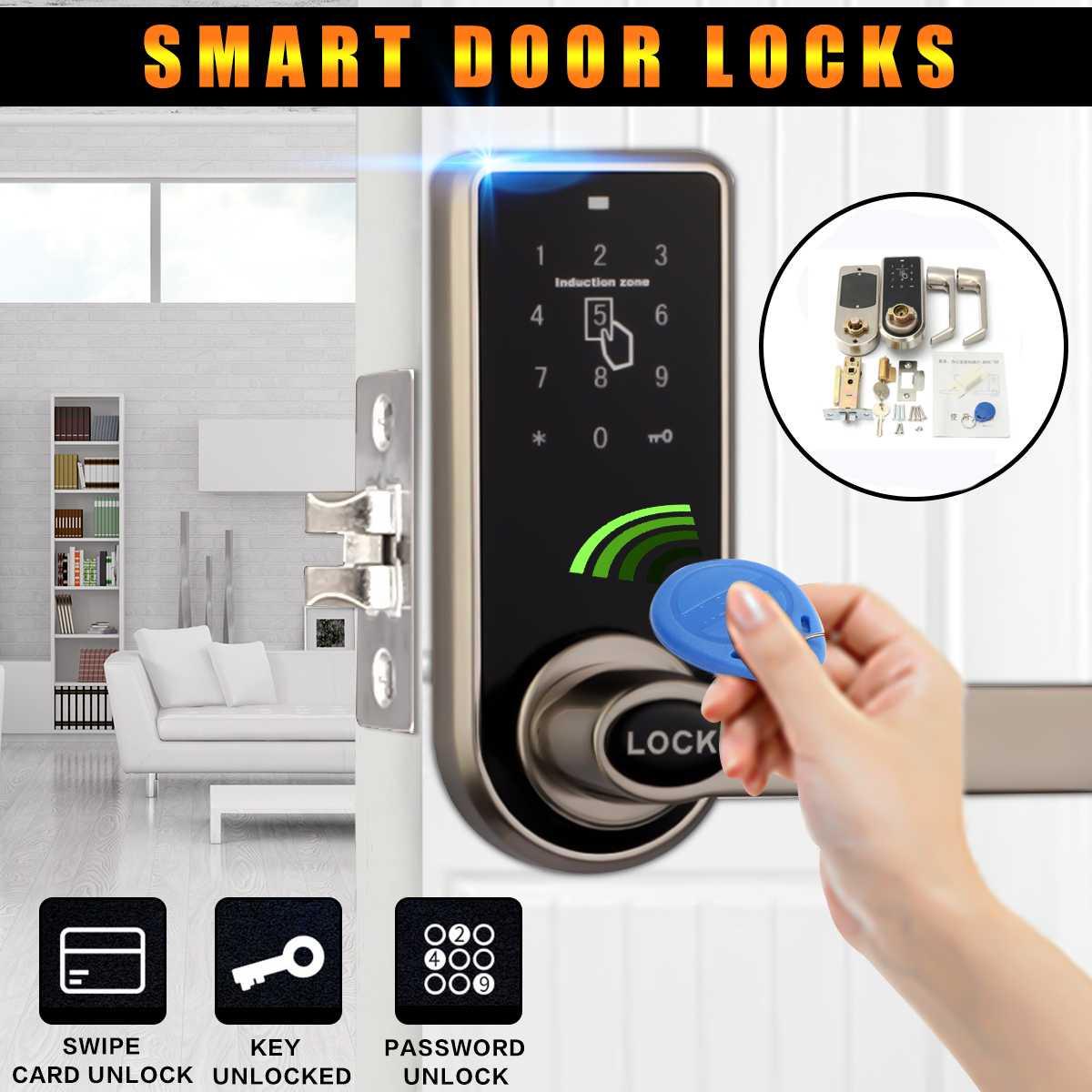 Serrure de porte intelligente électronique 3 in1 mot de passe carte d'identité mécanique serrure de porte numérique sécurité et Protection de la maison + 6x carte d'identité