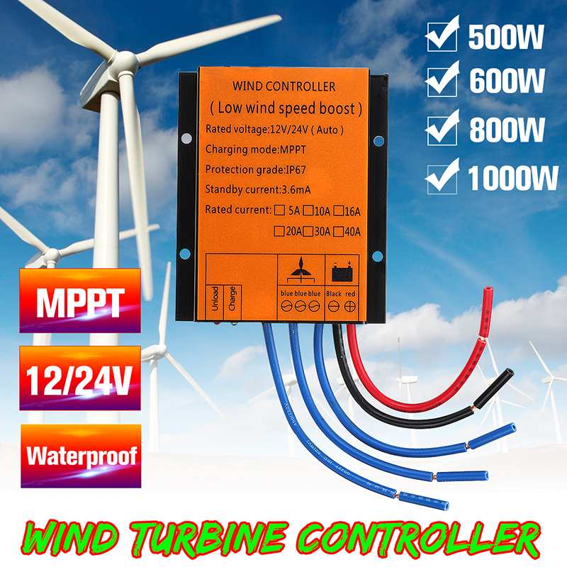 MPPT Wind Turbines Generator Charge Controller 500/600/800/1000W 12/24V Auto MPPT Waterproof LED Overvoltage Speed ProtectionMPPT Wind Turbines Generator Charge Controller 500/600/800/1000W 12/24V Auto MPPT Waterproof LED Overvoltage Speed Protection