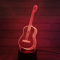 Colorful Violin 3d Desk Lamp LED Second Gram Force Vision Lamp Touch Switch Illusion Lamp Small Night light