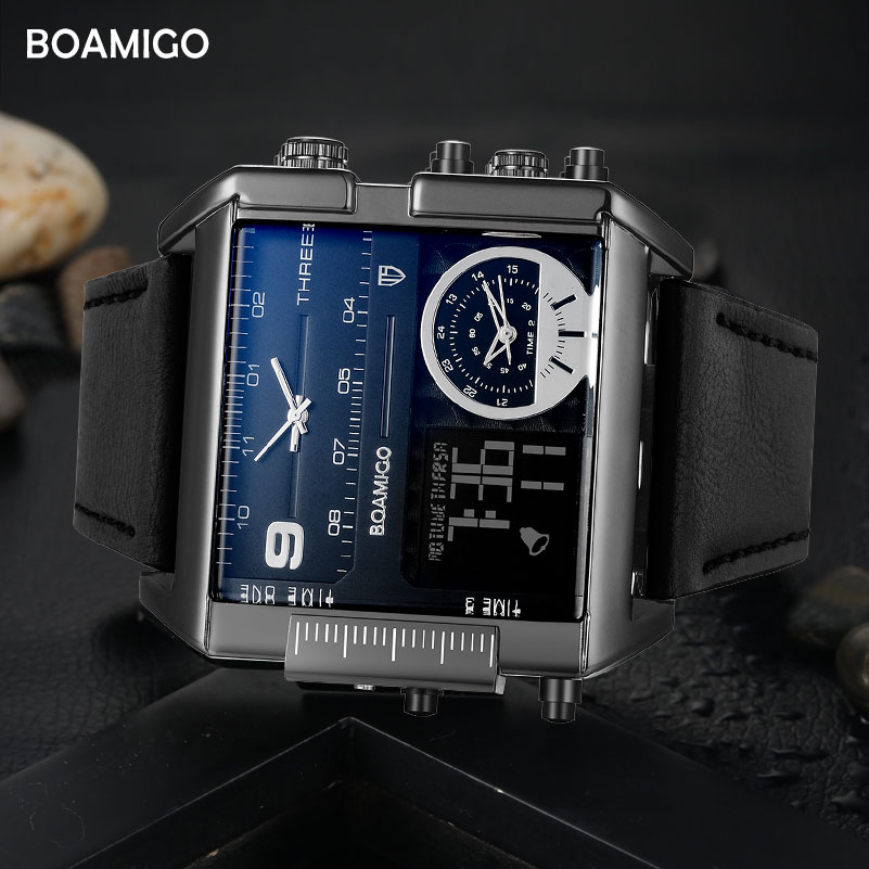 BOAMIGO brand men sports watches 3 time zone big man fashion military LED watch leather quartz wristwatches relogio masculino title=