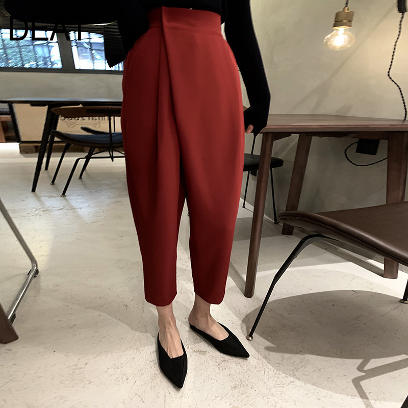 DEAT 2020 New Spring Fashion Women High Street Loose Hips Slim Foots Cargo Pants Female Trousers Tide WE11103