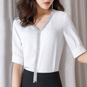 Image 3 - Elegante delle donne della camicia professionale vestiti di nuova estate di modo di temperamento Con Scollo A V mezza manica in chiffon camicetta plus size parti superiori allentate