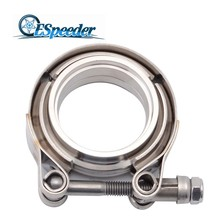 ESPEEDER 2/2.25/2.5/3/3.5 Inch V-Band Clamp Stainless Steel V-Band Flange Kit For Exhaust Pipes Downpipe Car Exhaust System new stainless steel v band flat flange clamp kit assembly 3 inch inner 76mm v band clamp and flange kit male
