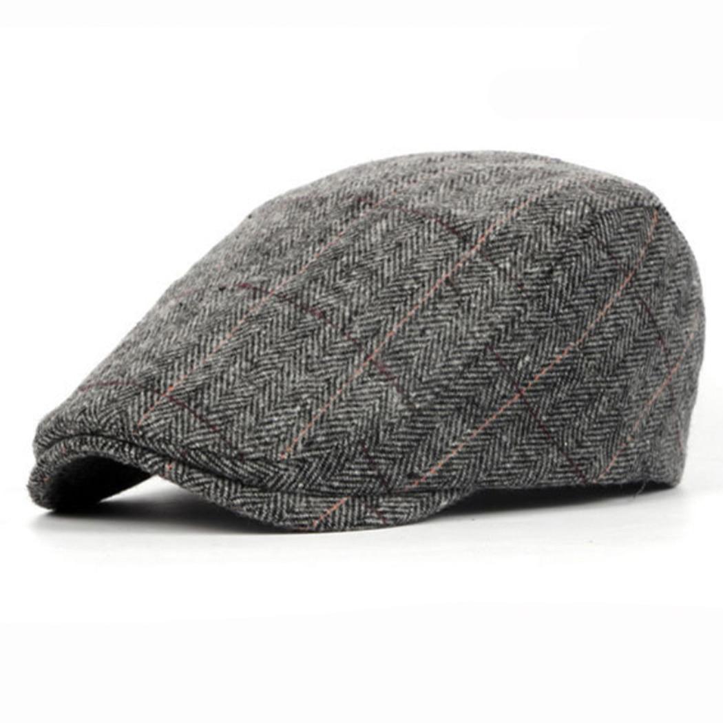 338a6d2293f Retro Beret Caps Men Women Winter Spring Wool Striped Hats Baret British  Unisex Woolen Flat Cap