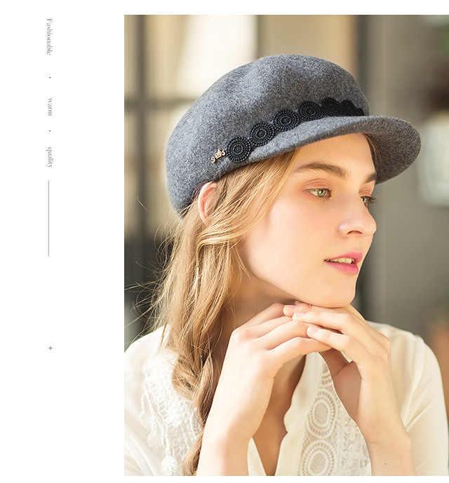 На весну и зиму женские Французский Берет Кепка шерстяные фетровые шляпы осень ретро элегантные женские шапки газетчик теплая шапка серый черного и верблюжьего цвета