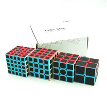 4Pcs/Set Magic Cube  2x2x2 3x3x3 4x4x4 5x5x5 Stickerless with Black Carbon Fiber Sticker Puzzle Toys For Children
