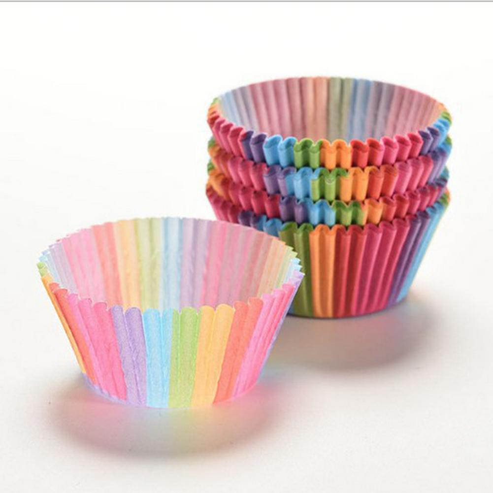 100PCS/200PCS/300PCS Baking Paper Cups Rainbow Color Cupcake Cup Mold for Muffin Mousse Cream Cake Bread Kitchen Bakeware