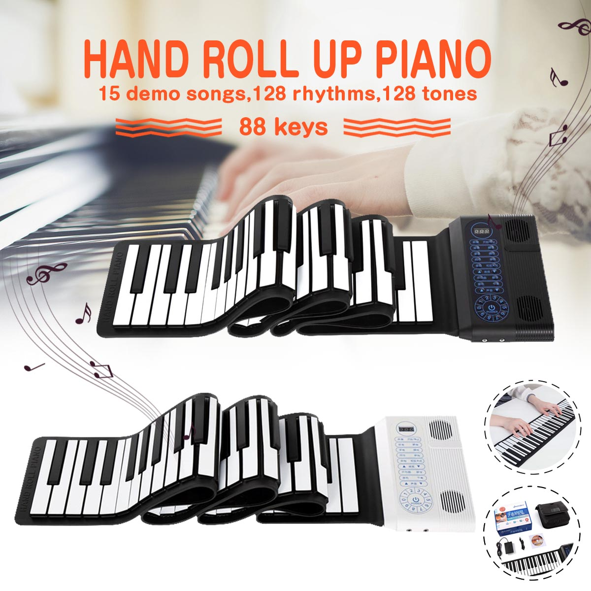 S2090 main rouleau Piano Flexible retrousser 88 touches clavier 128 Maximum polyphonie Portable Silicone Piano