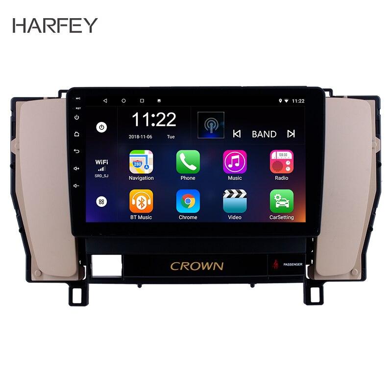 Harfey 9 Android 8.1 GPS Navigation system radio For 2010 2014 Toyota old crown Bluetooth PMS DVR OBD II USB Rear camera SWC