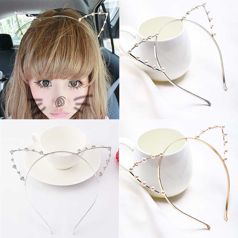 1PC Cute Silver Pearl Cosplay Headband Fashion Rhinestones Women Girls Hair Band Accessories Crystal Seaside Golden Cat Ear