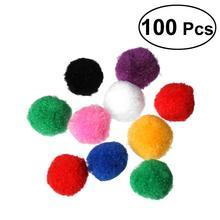 0b044e7a5e8 100Pcs 4cm Assorted Colorful Crafts Pom Poms Kitten Toys Fluffy Pon Balls