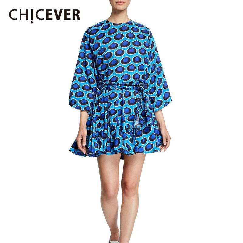 CHICEVER Casual Print Dress For Women O Neck Lantern Sleeve Lace Up Pleated Dresses Female Spring