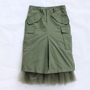 Image 5 - Twotwinstyleチュールパッチワークスカート女性の秋スプリットハイウエストパケットヒップスカート女性ミディロングカジュアルファッション
