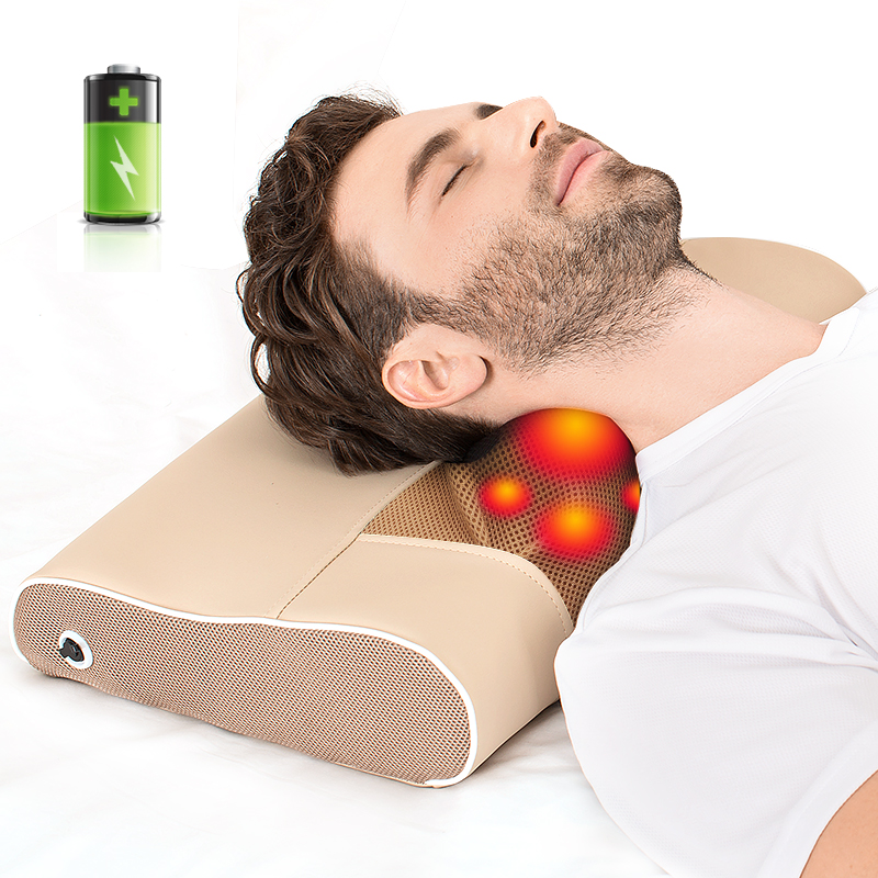 Cordless Massage Pillow massageador Shiatsu Neck Shoulder Body Massager Electric Infrared Heated Kneading MassagemCordless Massage Pillow massageador Shiatsu Neck Shoulder Body Massager Electric Infrared Heated Kneading Massagem