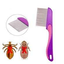 Peigne en acier inoxydable, anti poux, peigne à dents fines en métal avec poignée, brosse à cheveux
